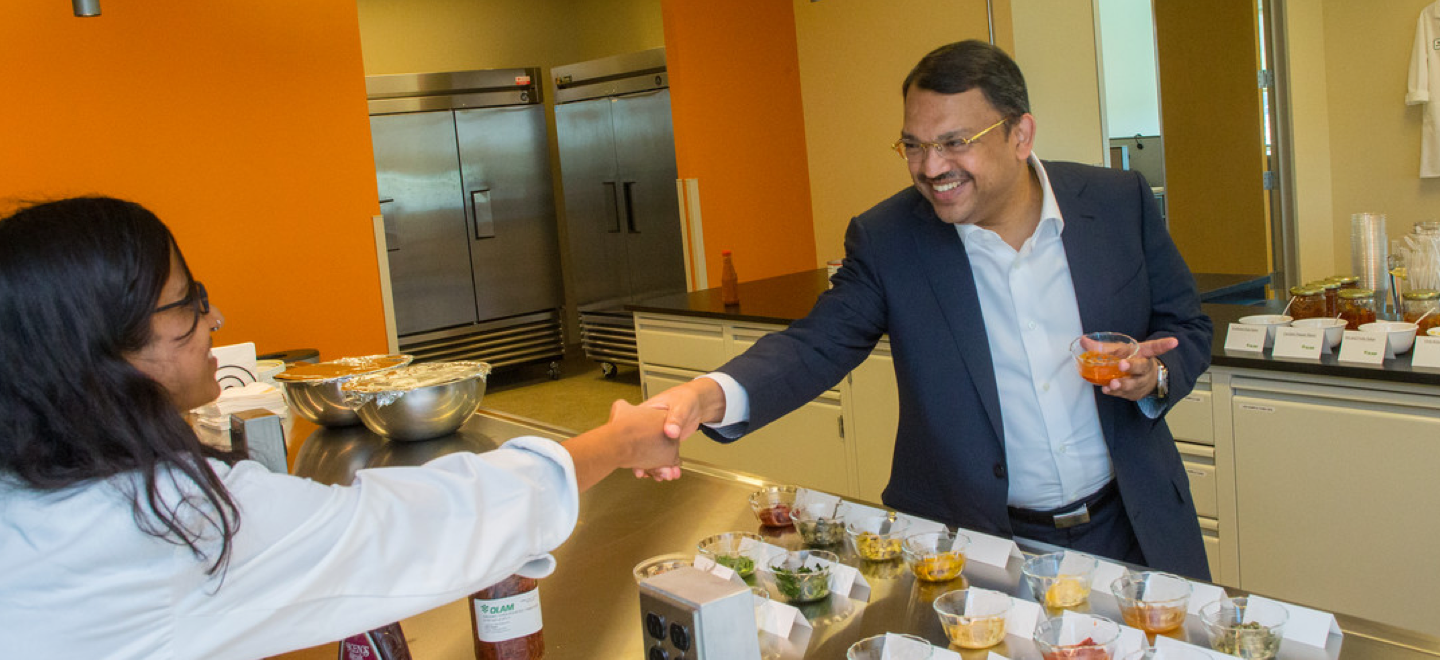 Sunny Verghese, Co-Founder and Group CEO visiting Olam's Spices Innovation Centre in Fresno, USA.