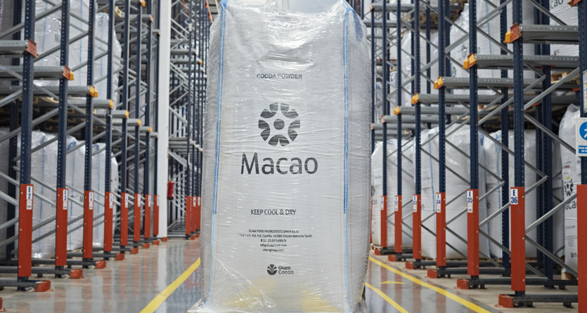 Warehouse of  Macao value-cocoa powder, manufactured by Olam in Spain.